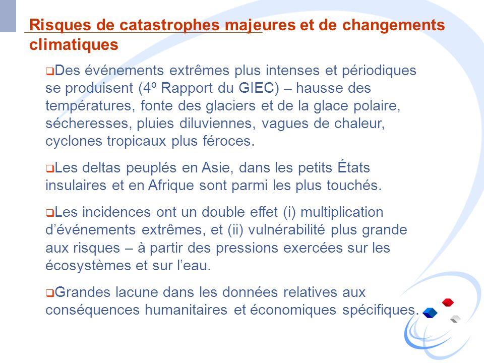 Risques de catastrophes majeures et de changements climatiques Des événements extrêmes plus intenses et périodiques se produisent (4º Rapport du GIEC)