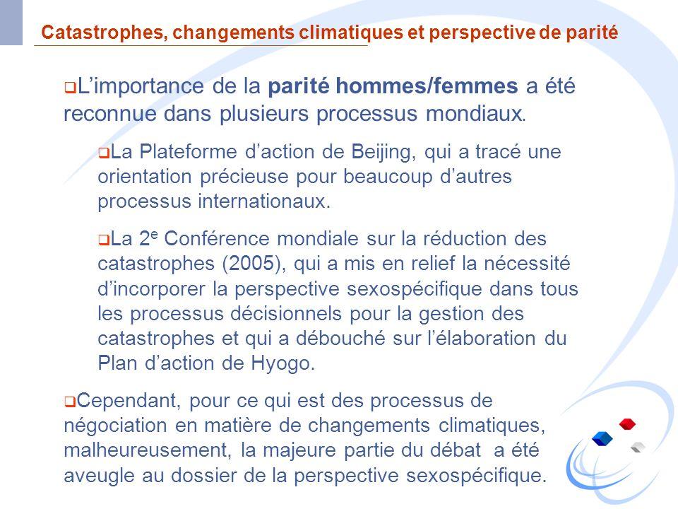 Catastrophes, changements climatiques et perspective de parité Limportance de la parité hommes/femmes a été reconnue dans plusieurs processus mondiaux