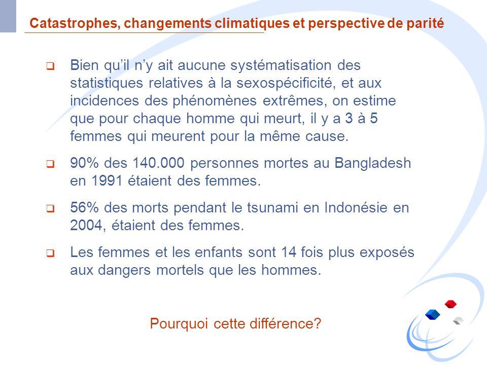 Catastrophes, changements climatiques et perspective de parité Bien quil ny ait aucune systématisation des statistiques relatives à la sexospécificité