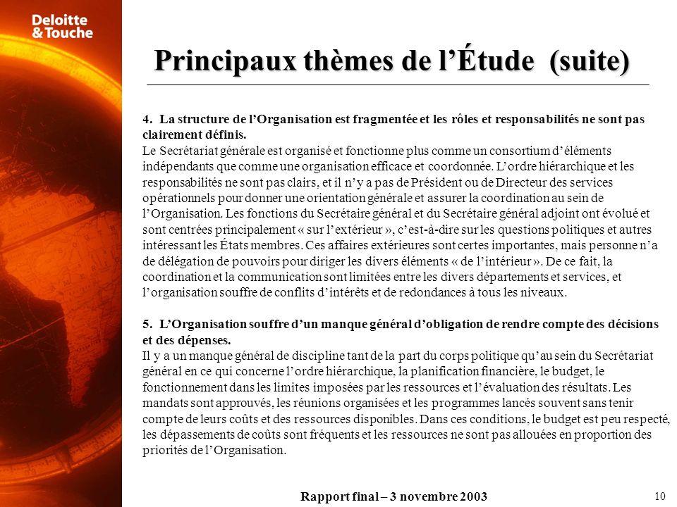 Rapport final – 3 novembre 2003 4. La structure de lOrganisation est fragmentée et les rôles et responsabilités ne sont pas clairement définis. Le Sec