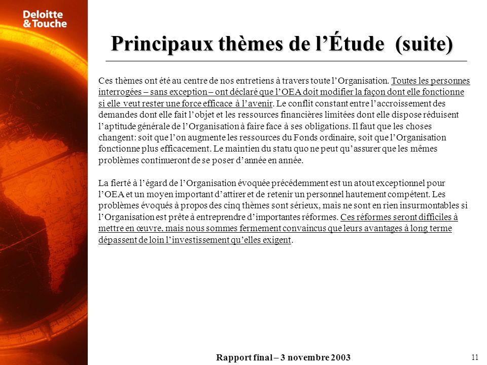 Rapport final – 3 novembre 2003 Ces thèmes ont été au centre de nos entretiens à travers toute lOrganisation. Toutes les personnes interrogées – sans