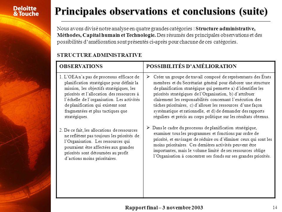 Rapport final – 3 novembre 2003 Nous avons divisé notre analyse en quatre grandes catégories : Structure administrative, Méthodes, Capital humain et T