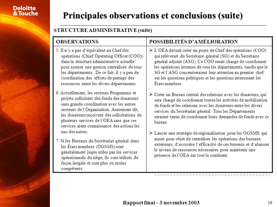 Rapport final – 3 novembre 2003 OBSERVATIONSPOSSIBILITÉS DAMÉLIORATION 5. Il ny a pas déquivalent au Chef des opérations (Chief Operating Officer (COO