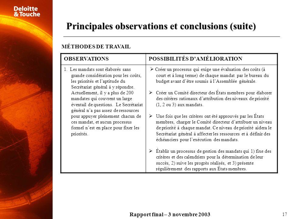 Rapport final – 3 novembre 2003 OBSERVATIONSPOSSIBILITÉS DAMÉLIORATION 1. Les mandats sont élaborés sans grande considération pour les coûts, les prio