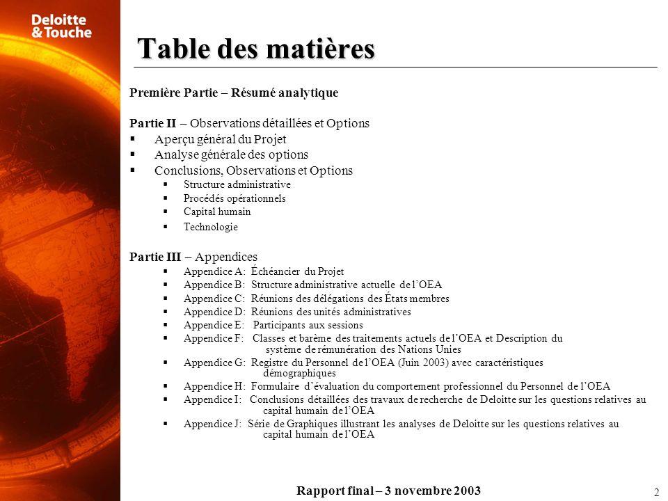 Rapport final – 3 novembre 2003 Table des matières Première Partie – Résumé analytique Partie II – Observations détaillées et Options Aperçu général d