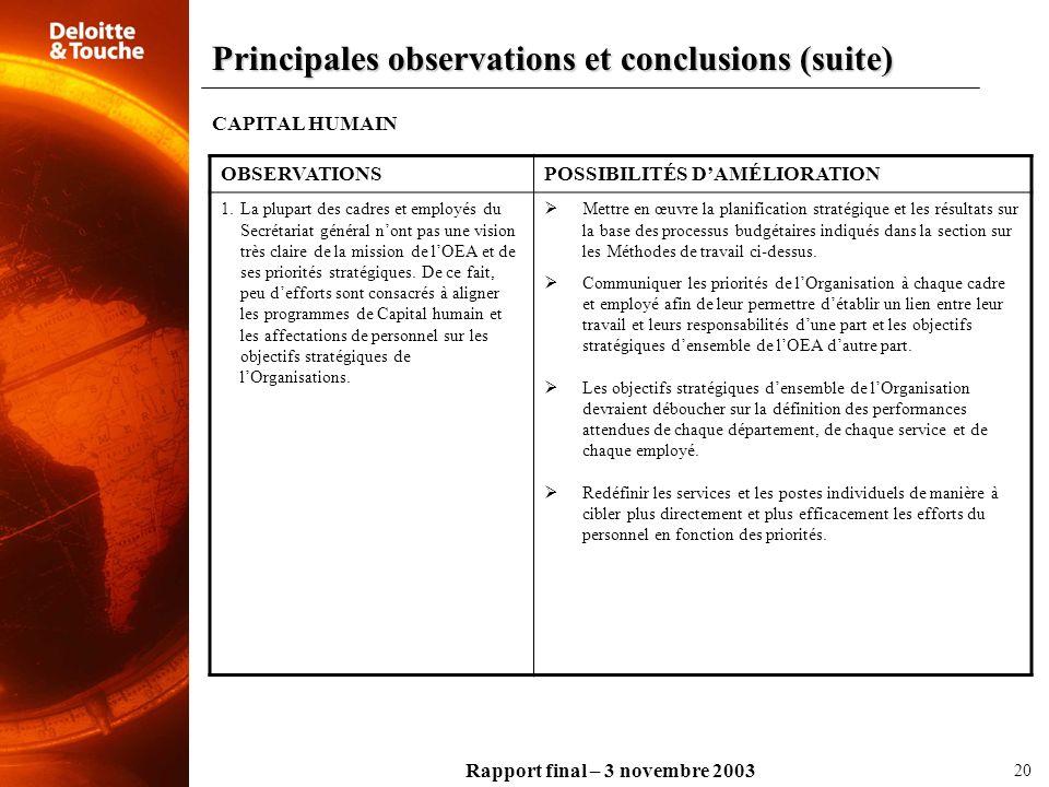 Rapport final – 3 novembre 2003 CAPITAL HUMAIN OBSERVATIONSPOSSIBILITÉS DAMÉLIORATION 1.La plupart des cadres et employés du Secrétariat général nont