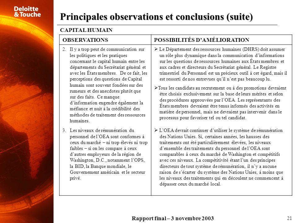 Rapport final – 3 novembre 2003 CAPITAL HUMAIN OBSERVATIONSPOSSIBILITÉS DAMÉLIORATION 2.Il y a trop peut de communication sur les politiques et les pr