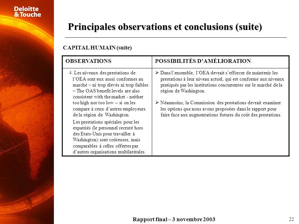 Rapport final – 3 novembre 2003 OBSERVATIONSPOSSIBILITÉS DAMÉLIORATION 4. Les niveaux des prestations de lOEA sont eux aussi conformes au marché – ni