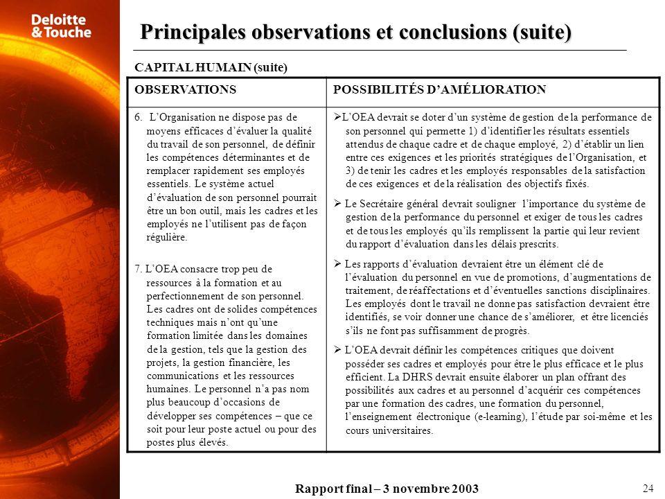 Rapport final – 3 novembre 2003 OBSERVATIONSPOSSIBILITÉS DAMÉLIORATION 6. LOrganisation ne dispose pas de moyens efficaces dévaluer la qualité du trav