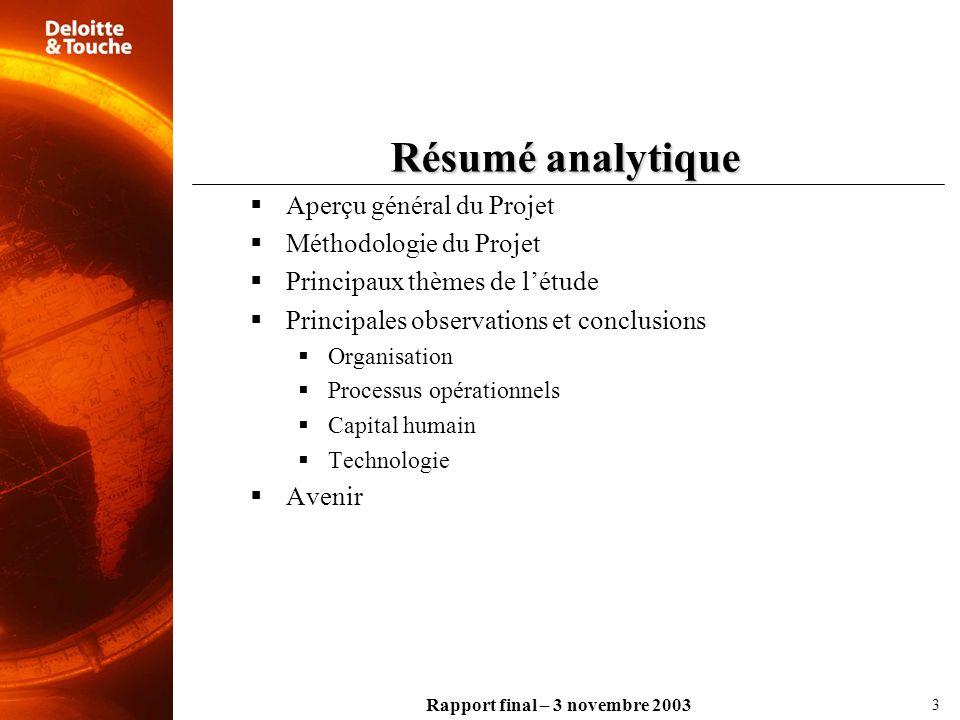 Rapport final – 3 novembre 2003 Résumé analytique Aperçu général du Projet Méthodologie du Projet Principaux thèmes de létude Principales observations