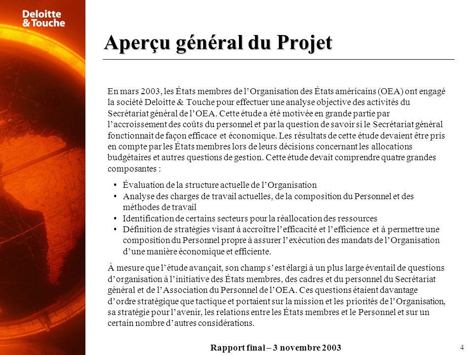 Rapport final – 3 novembre 2003 Aperçu général du Projet 4 En mars 2003, les États membres de lOrganisation des États américains (OEA) ont engagé la s