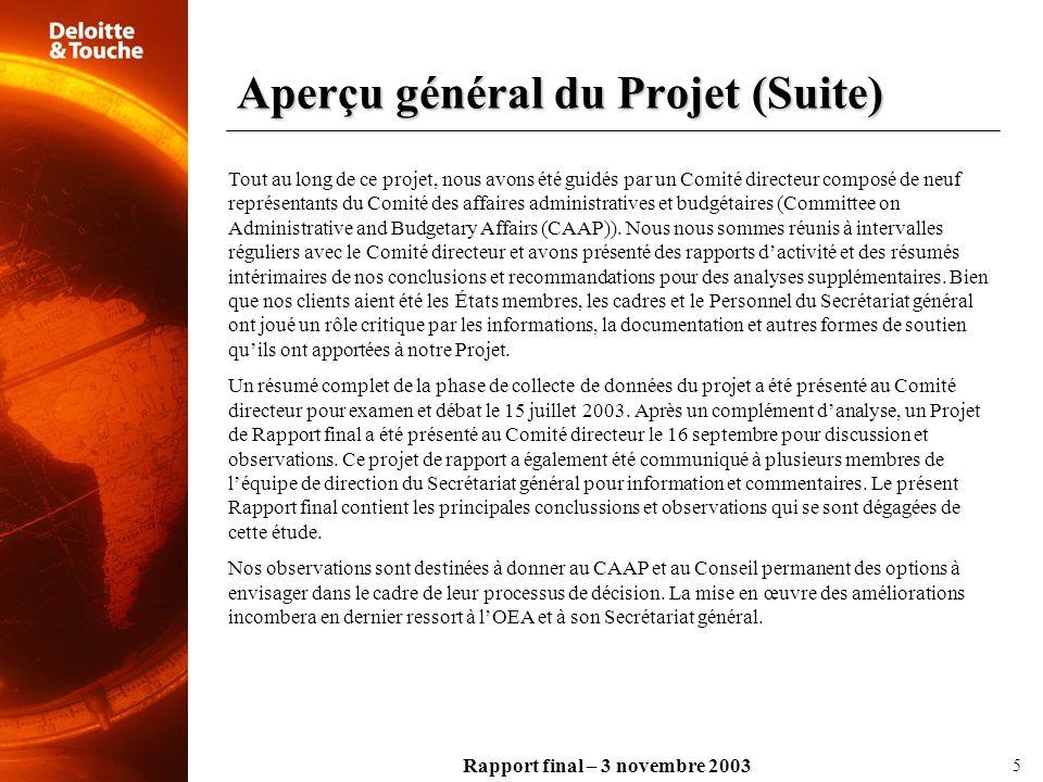 Rapport final – 3 novembre 2003 Durant lexécution de cette étude, nous avons recueilli des informations et des données sur lOEA auprès dun large éventail de sources, et nous avons utilisé des méthodes fondées sur les activités pour effectuer nos analyses.