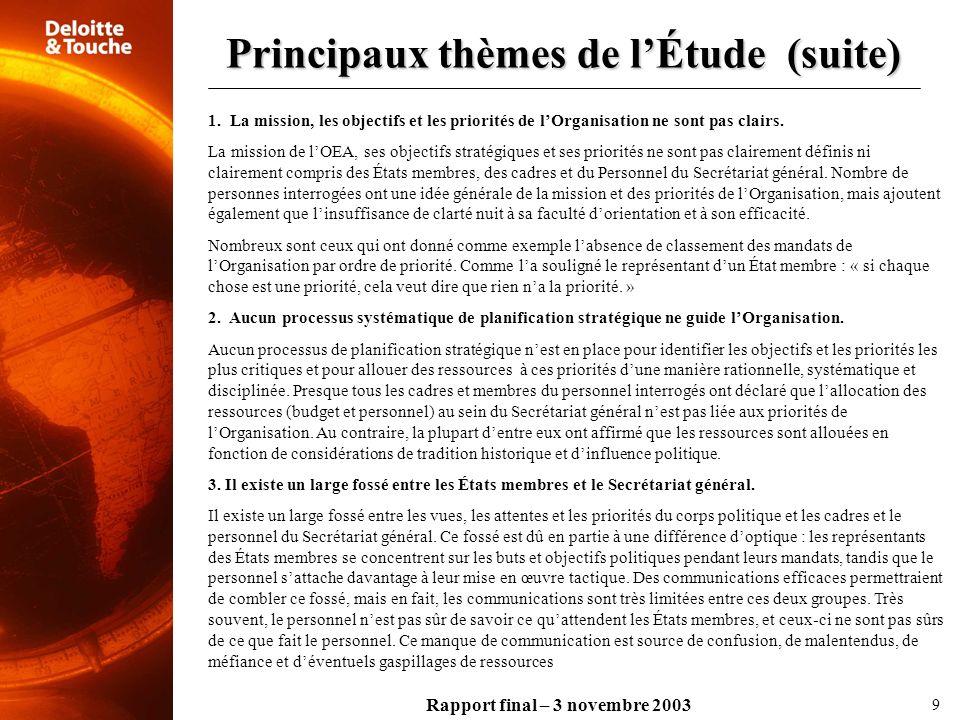 Rapport final – 3 novembre 2003 Principaux thèmes de lÉtude (suite) 9 1. La mission, les objectifs et les priorités de lOrganisation ne sont pas clair