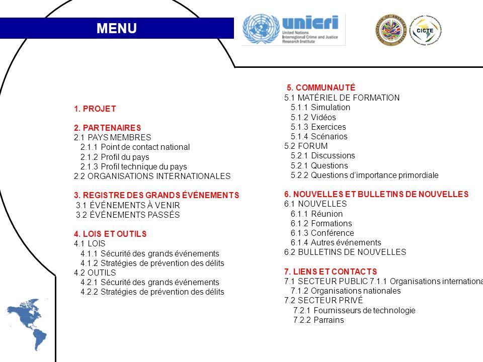 1. PROJET 2. PARTENAIRES 2.1 PAYS MEMBRES 2.1.1 Point de contact national 2.1.2 Profil du pays 2.1.3 Profil technique du pays 2.2 ORGANISATIONS INTERN