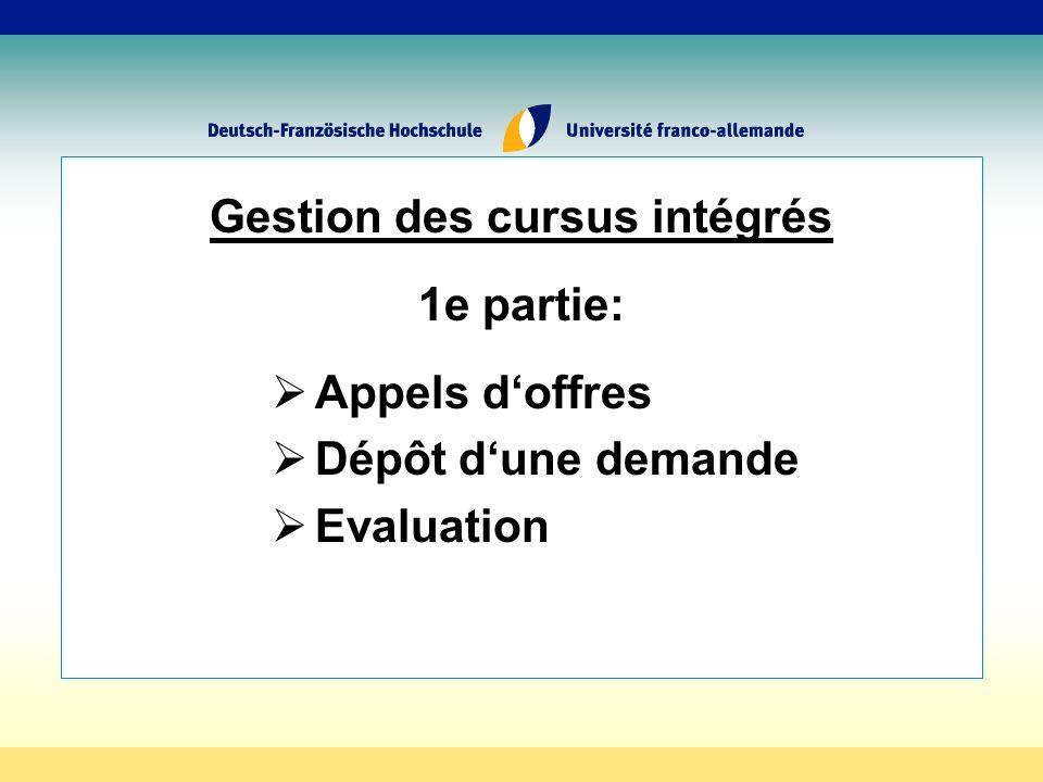 Gestion des cursus intégrés 1e partie: Appels doffres Dépôt dune demande Evaluation