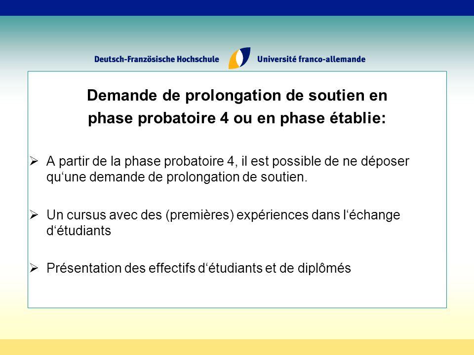 Demande de prolongation de soutien en phase probatoire 4 ou en phase établie: A partir de la phase probatoire 4, il est possible de ne déposer quune demande de prolongation de soutien.