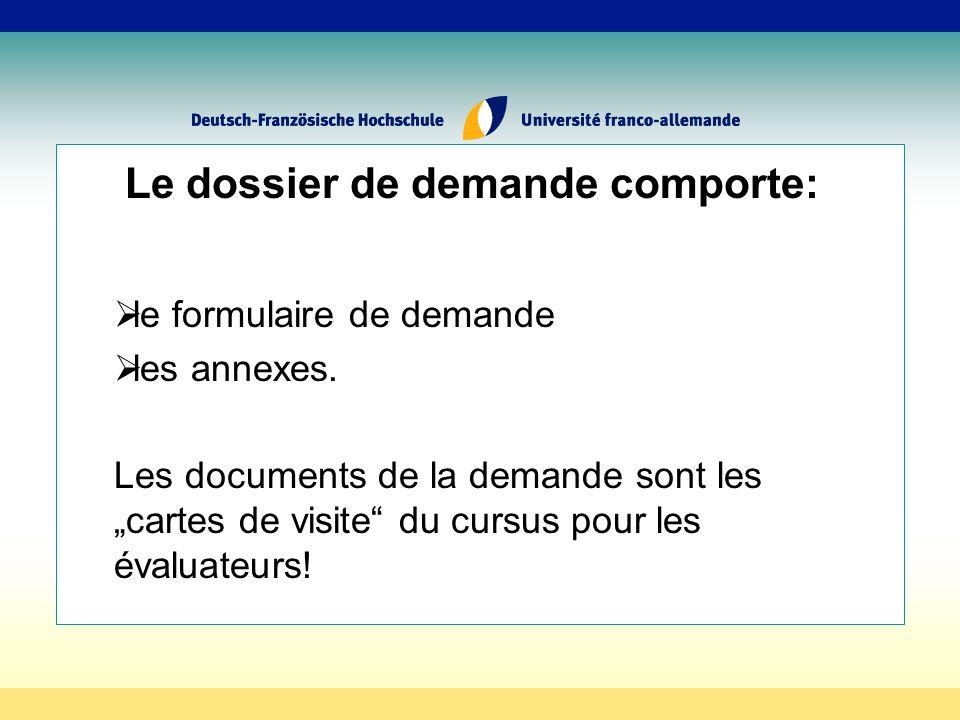 Le dossier de demande comporte: le formulaire de demande les annexes.