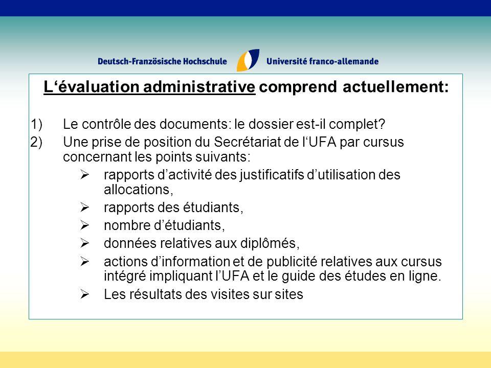 Lévaluation administrative comprend actuellement: 1)Le contrôle des documents: le dossier est-il complet.