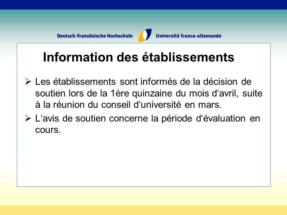 Information des établissements Les établissements sont informés de la décision de soutien lors de la 1ère quinzaine du mois davril, suite à la réunion du conseil duniversité en mars.