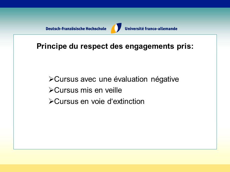 Principe du respect des engagements pris: Cursus avec une évaluation négative Cursus mis en veille Cursus en voie dextinction
