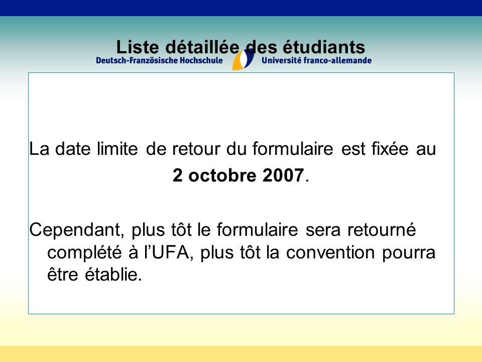 Liste détaillée des étudiants La date limite de retour du formulaire est fixée au 2 octobre 2007.