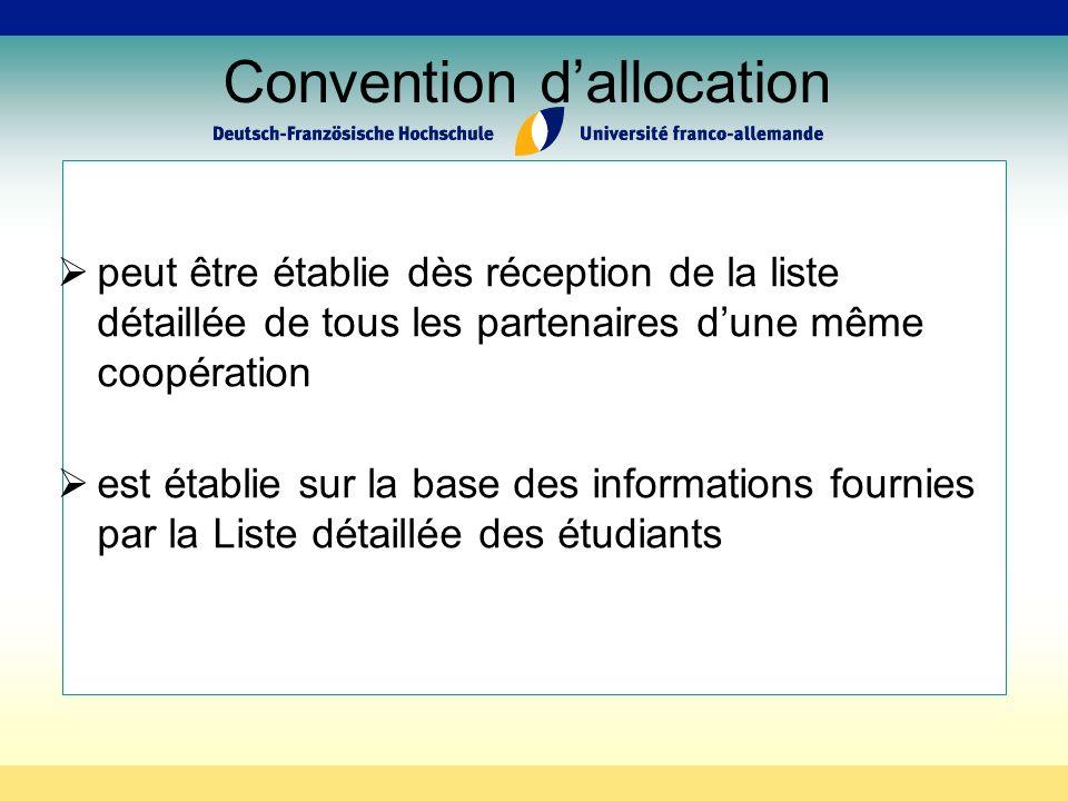 Convention dallocation peut être établie dès réception de la liste détaillée de tous les partenaires dune même coopération est établie sur la base des informations fournies par la Liste détaillée des étudiants