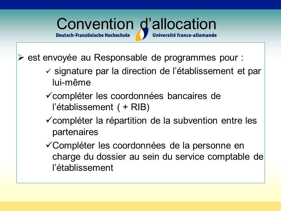 Convention dallocation est envoyée au Responsable de programmes pour : signature par la direction de létablissement et par lui-même compléter les coordonnées bancaires de létablissement ( + RIB) compléter la répartition de la subvention entre les partenaires Compléter les coordonnées de la personne en charge du dossier au sein du service comptable de létablissement