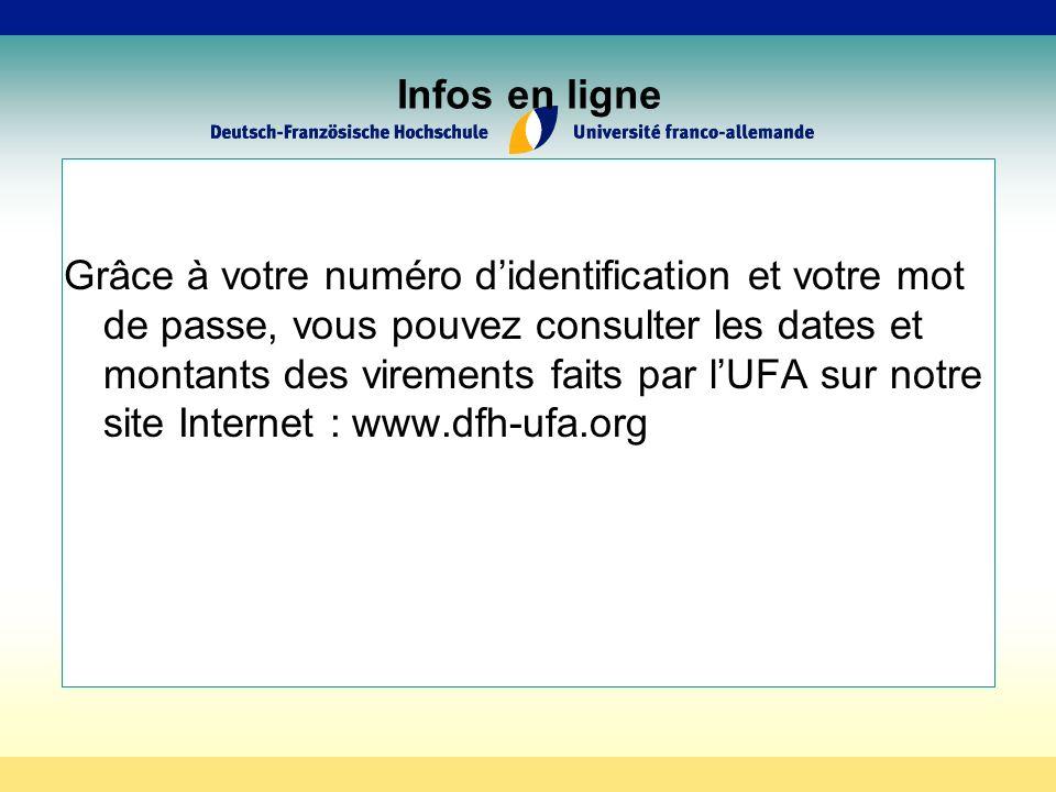 Infos en ligne Grâce à votre numéro didentification et votre mot de passe, vous pouvez consulter les dates et montants des virements faits par lUFA sur notre site Internet : www.dfh-ufa.org