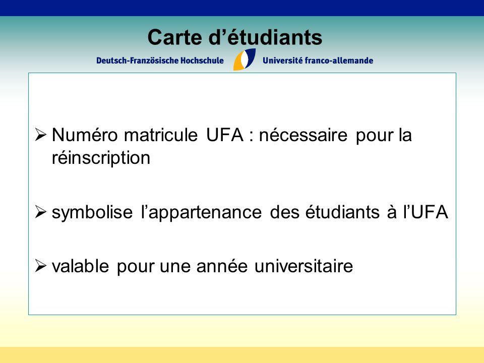 Carte détudiants Numéro matricule UFA : nécessaire pour la réinscription symbolise lappartenance des étudiants à lUFA valable pour une année universitaire