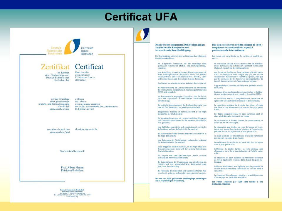 Certificat UFA