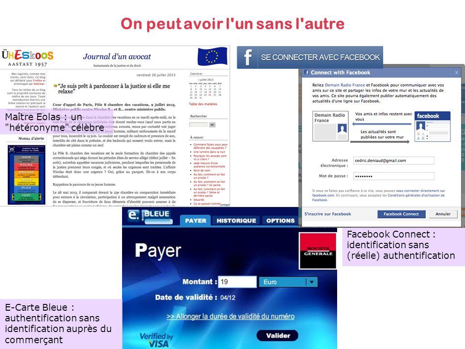 Facebook Connect : identification sans (réelle) authentification On peut avoir l un sans l autre Maître Eolas : un hétéronyme célèbre E-Carte Bleue : authentification sans identification auprès du commerçant