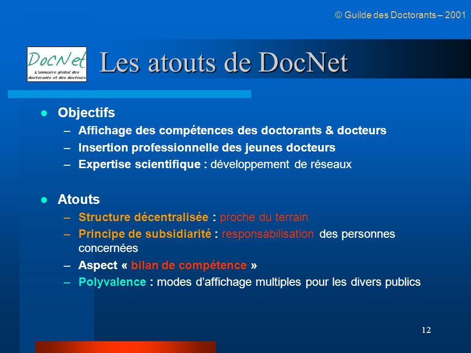 12 Les atouts de DocNet Objectifs –Affichage des compétences des doctorants & docteurs –Insertion professionnelle des jeunes docteurs –Expertise scien