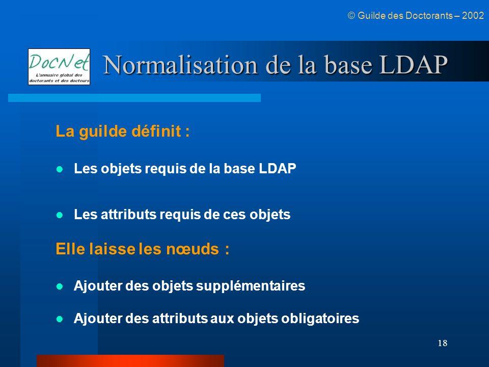 18 Normalisation de la base LDAP La guilde définit : Les objets requis de la base LDAP Les attributs requis de ces objets Elle laisse les nœuds : Ajou
