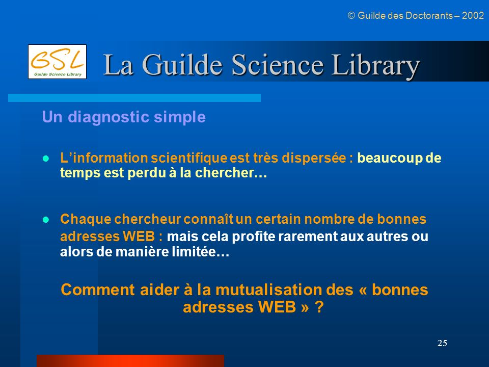 25 La Guilde Science Library Un diagnostic simple Linformation scientifique est très dispersée : beaucoup de temps est perdu à la chercher… Chaque che