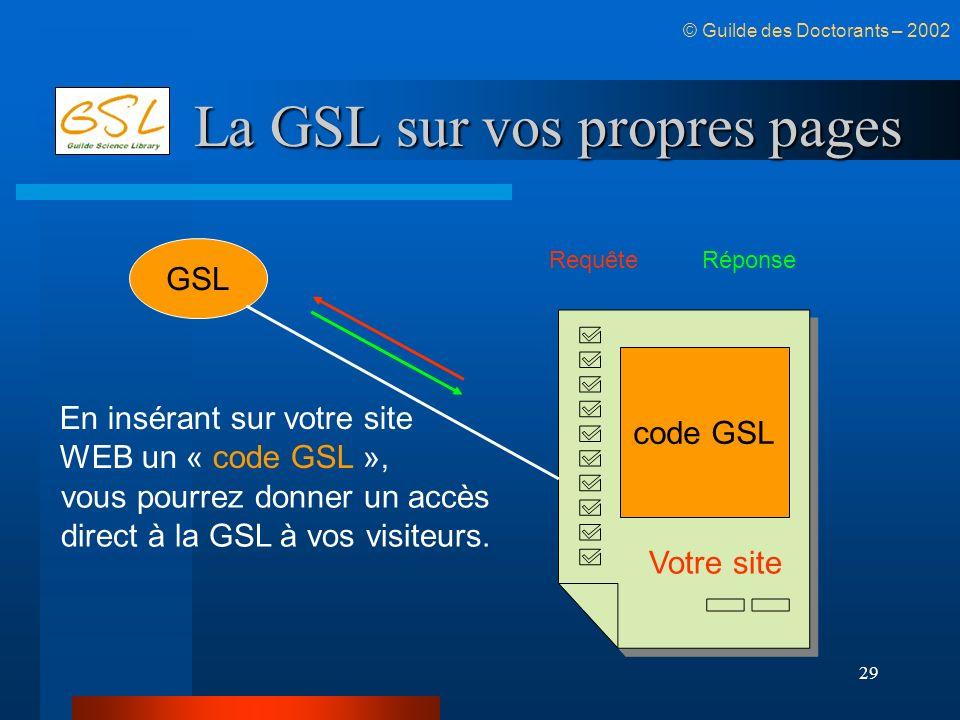 29 La GSL sur vos propres pages © Guilde des Doctorants – 2002 GSL code GSL En insérant sur votre site WEB un « code GSL », vous pourrez donner un acc
