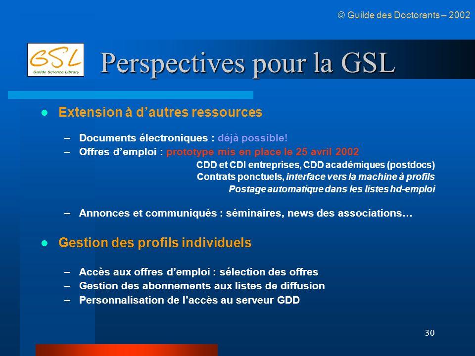 30 Perspectives pour la GSL Extension à dautres ressources –Documents électroniques : déjà possible! –Offres demploi : prototype mis en place le 25 av