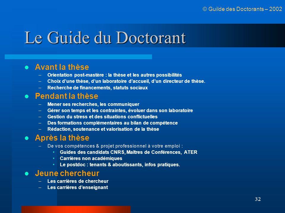 32 Le Guide du Doctorant Avant la thèse –Orientation post-mastère : la thèse et les autres possibilités –Choix dune thèse, dun laboratoire daccueil, d