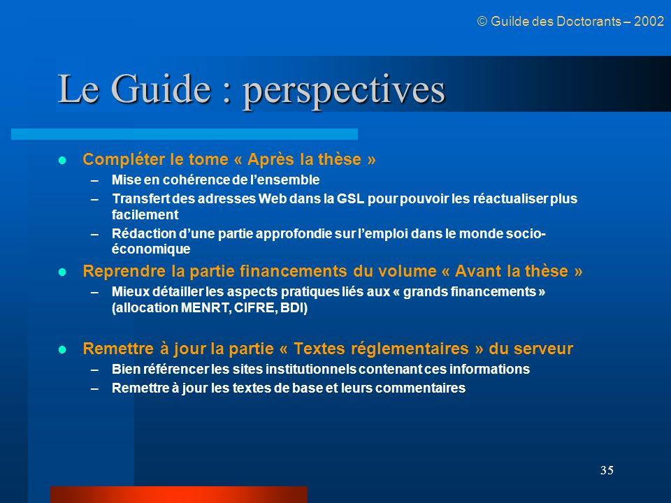 35 Le Guide : perspectives Compléter le tome « Après la thèse » –Mise en cohérence de lensemble –Transfert des adresses Web dans la GSL pour pouvoir l