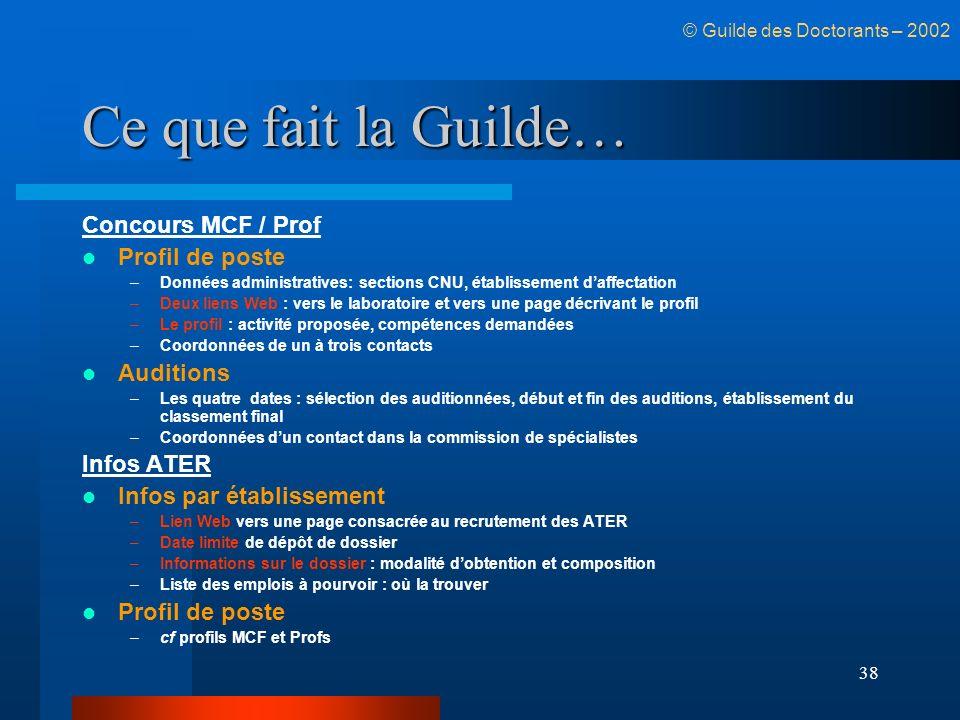 38 Ce que fait la Guilde… Concours MCF / Prof Profil de poste –Données administratives: sections CNU, établissement daffectation –Deux liens Web : ver