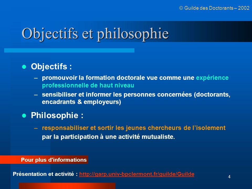 4 Objectifs et philosophie Objectifs : –promouvoir la formation doctorale vue comme une expérience professionnelle de haut niveau –sensibiliser et inf