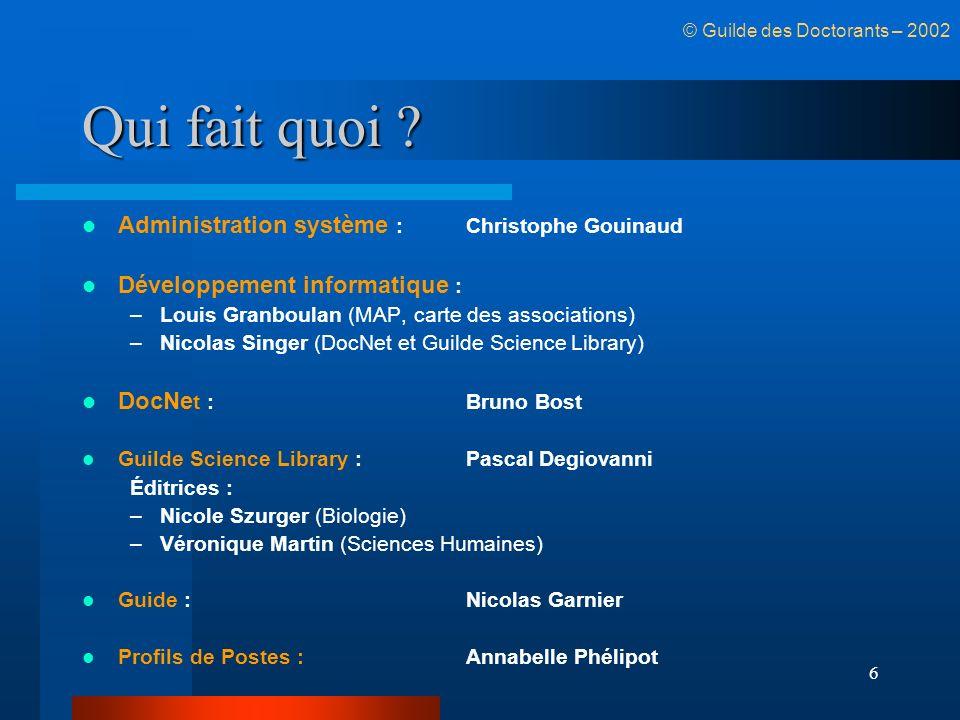 6 Qui fait quoi ? Administration système :Christophe Gouinaud Développement informatique : –Louis Granboulan (MAP, carte des associations) –Nicolas Si