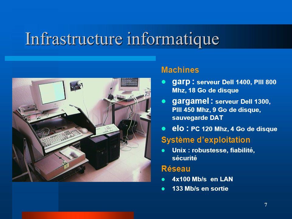 7 Infrastructure informatique Machines garp : serveur Dell 1400, PIII 800 Mhz, 18 Go de disque gargamel : serveur Dell 1300, PIII 450 Mhz, 9 Go de dis