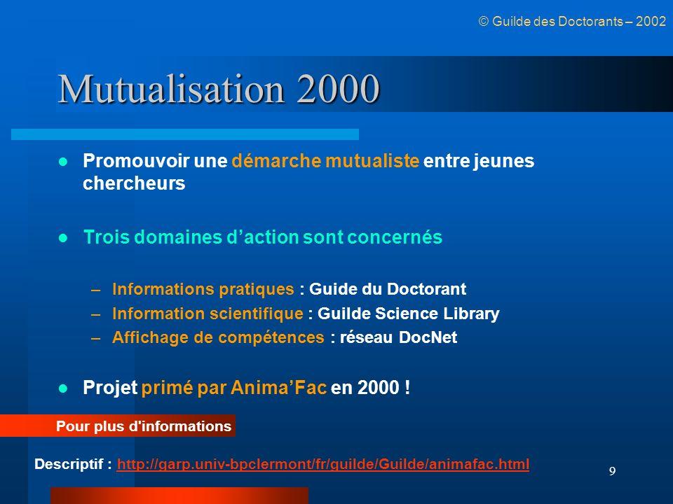9 Mutualisation 2000 Promouvoir une démarche mutualiste entre jeunes chercheurs Trois domaines daction sont concernés –Informations pratiques : Guide
