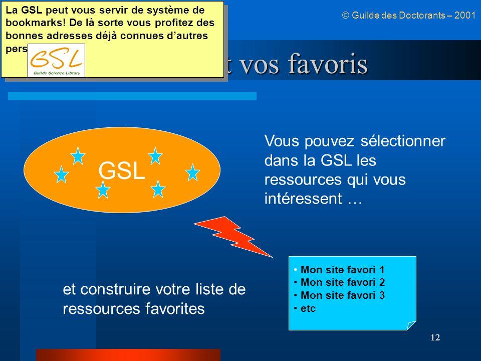 12 La GSL et vos favoris © Guilde des Doctorants – 2001 GSL Mon site favori 1 Mon site favori 2 Mon site favori 3 etc Vous pouvez sélectionner dans la GSL les ressources qui vous intéressent … et construire votre liste de ressources favorites La GSL peut vous servir de système de bookmarks.
