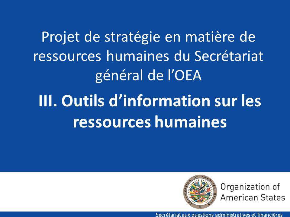 17 Projet de stratégie en matière de ressources humaines du Secrétariat général de lOEA Secrétariat aux questions administratives et financières III.