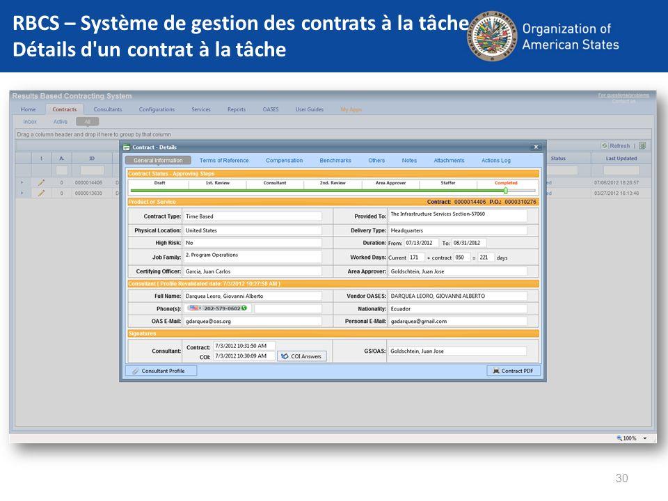 30 RBCS – Système de gestion des contrats à la tâche Détails d'un contrat à la tâche