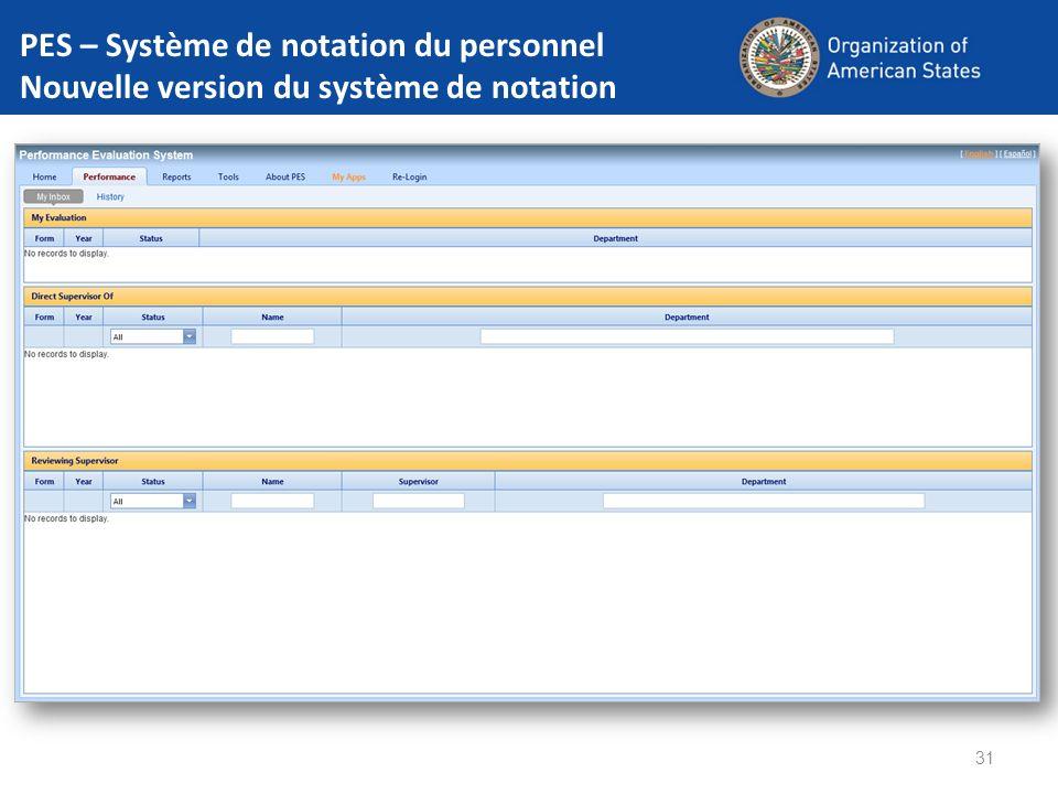 PES – Système de notation du personnel Nouvelle version du système de notation 31