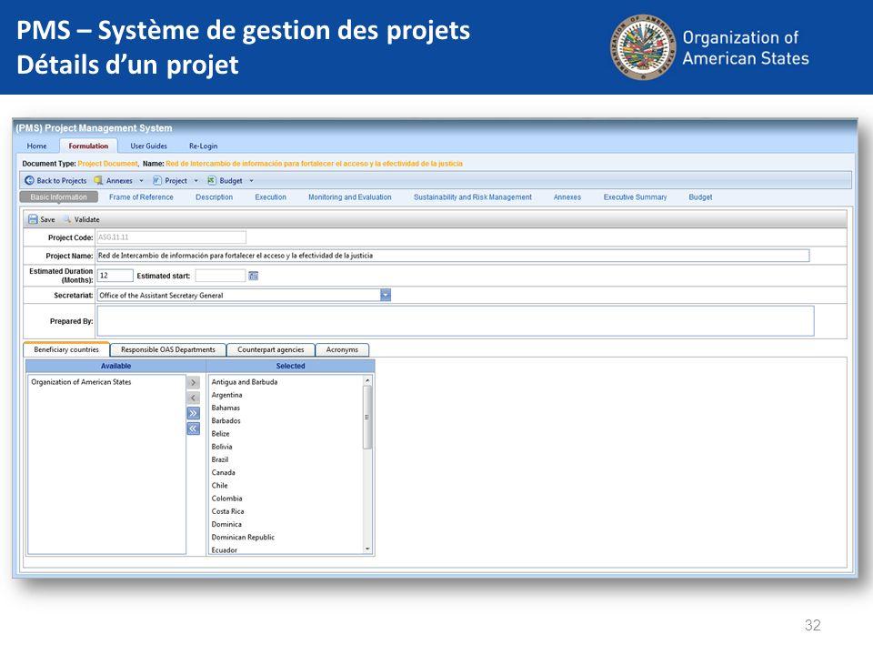 32 PMS – Système de gestion des projets Détails dun projet