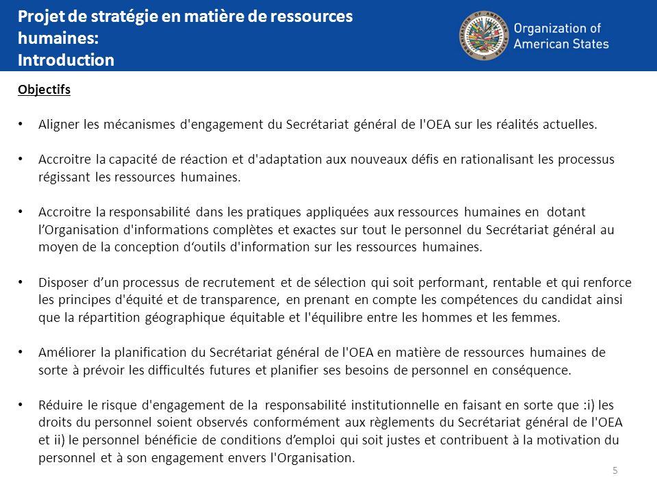 5 Objectifs Aligner les mécanismes d'engagement du Secrétariat général de l'OEA sur les réalités actuelles. Accroitre la capacité de réaction et d'ada
