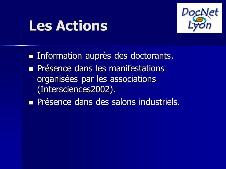Les Actions Information auprès des doctorants. Information auprès des doctorants.
